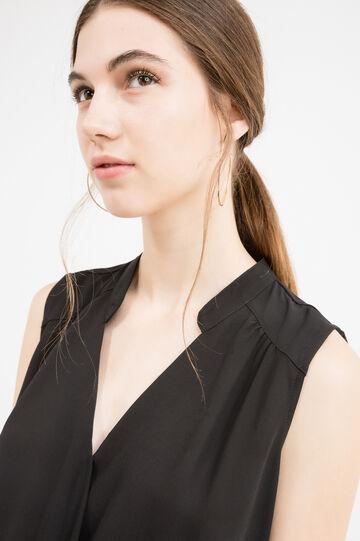 Sleeveless V-neck blouse in 100% viscose, Black, hi-res