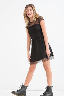 Teen stretch polka dot dress, Black, hi-res