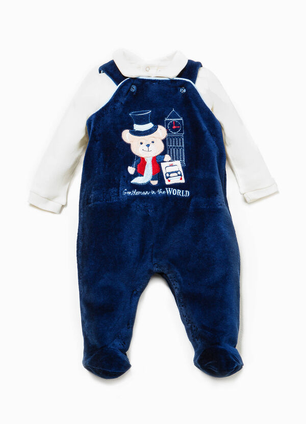 T-shirt and dungarees set with embroidery | OVS