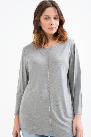Curvy T-shirt with diamantés in 100% viscose, Grey Marl, hi-res