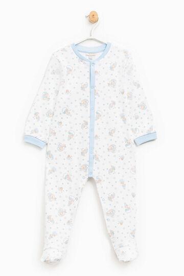 Tutina pigiama cotone fantasia, Bianco/Azzurro, hi-res