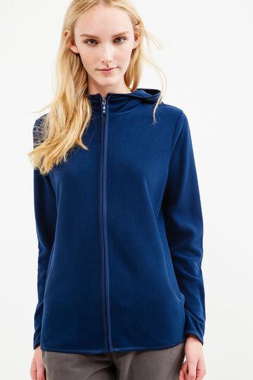 Fleece hoodie with high neck, Blue, hi-res