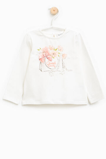 Round neck T-shirt with print and tulle flower, Milky White, hi-res