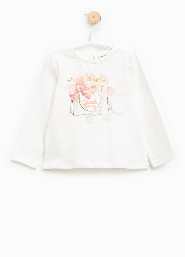 Round neck T-shirt with print and tulle flower | OVS