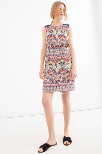 Sleeveless dress with print, Red, hi-res