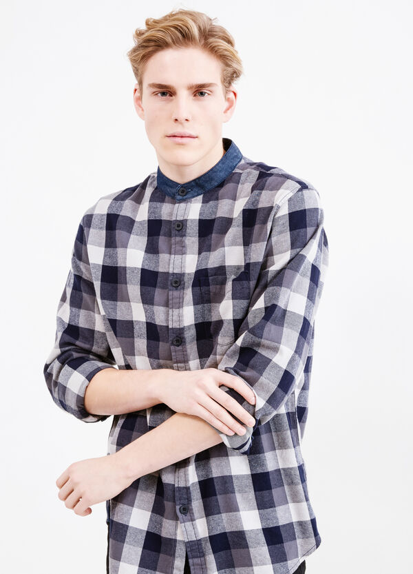 Casual cotton shirt with mandarin collar. | OVS