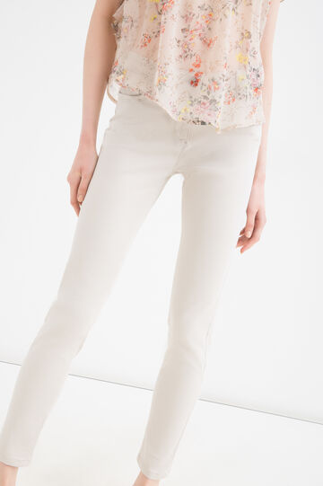 Modal and cotton blend trousers, Chalk White, hi-res