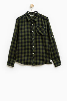 Check shirt in 100% cotton, Green, hi-res