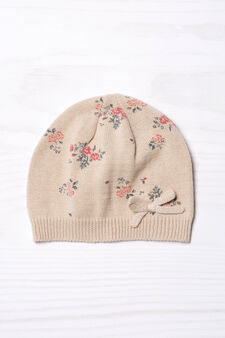 Cappello a cuffia fantasia floreale, Beige, hi-res