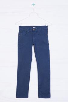 Pantaloni cinque tasche stretch, Blu navy, hi-res