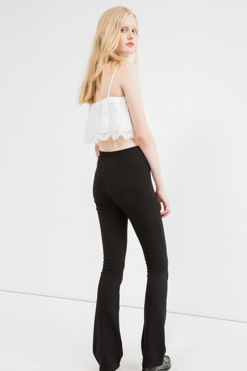 Solid colour stretch piquet leggings, Black, hi-res