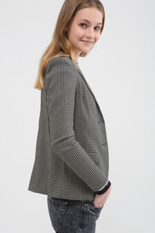 Stretch jacket with geometric pattern, Black/White, hi-res