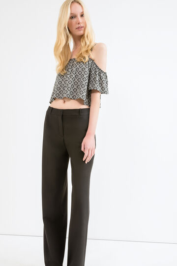 Solid colour viscose trousers, Black, hi-res