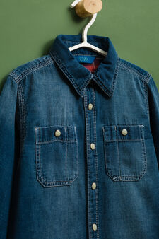 Denim shirt with faded effect, Denim, hi-res