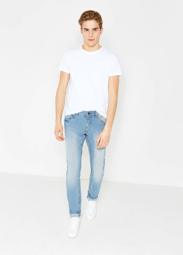 Slim fit, washed and faded-effect jeans | OVS