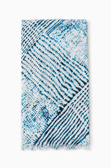 Patterned viscose pashmina, White/Blue, hi-res