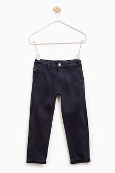 Pantaloni stretch taschino con zip, Blu navy, hi-res