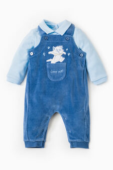 Polo shirt and dungarees with snap buttons set, Blue/Light Blue, hi-res