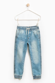 Faded jeans with drawstring, Light Wash, hi-res