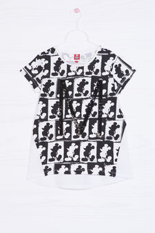 Printed cotton and sequin T-shirt, White, hi-res