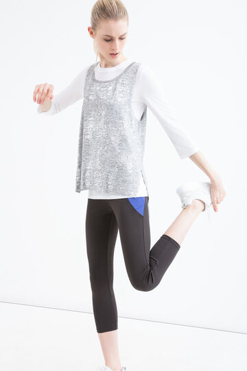 Faux layered stretch gym T-shirt