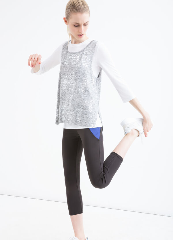 Faux layered stretch gym T-shirt | OVS