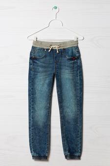 Jeans stretch con coulisse, Lavaggio medio, hi-res