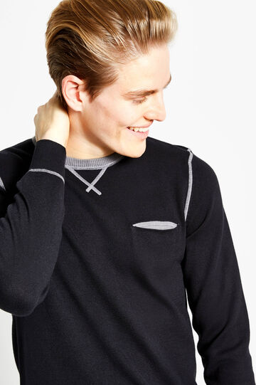 Cotton pullover with contrasting stitching, Black, hi-res