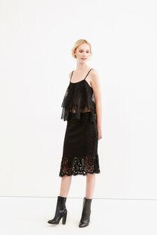 Midi skirt in lace, Black, hi-res