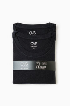Two-pack 100% cotton undershirts, Black, hi-res