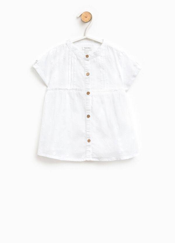 Blusa de algodón con trama moteada | OVS