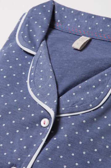 Maglia pigiama in puro cotone pois, Blu melange, hi-res