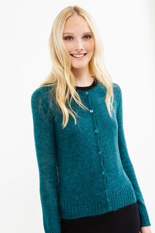 Mohair wool and viscose blend cardigan, Green, hi-res