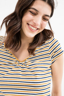 Stretch T-shirt with striped pattern, Ochre Yellow, hi-res