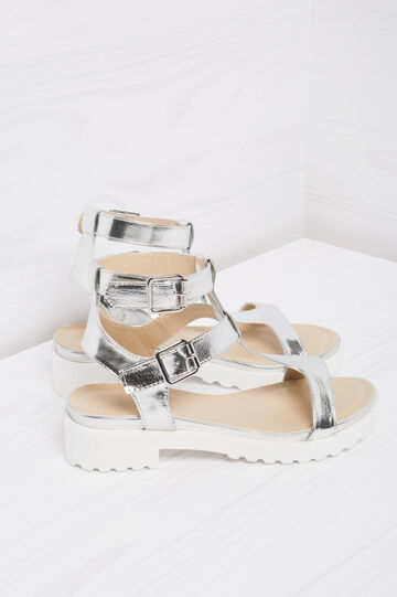 Low heel sandals with buckles, Grey/Silver, hi-res