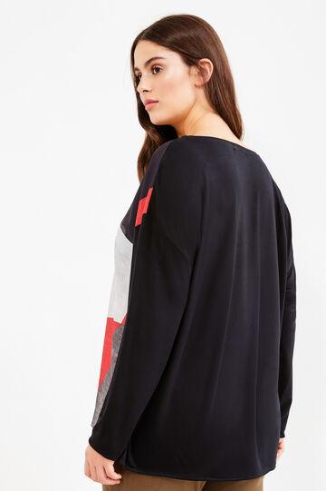 Curvy T-shirt with geometric print, Black, hi-res