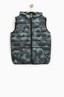 Camouflage hooded waistcoat, Blue, hi-res