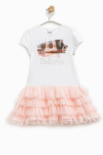 Vestitino con gonna a balze Ballerina, Bianco/Rosa, hi-res