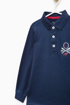 100% cotton polo shirt with printed lettering, Navy Blue, hi-res