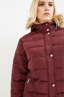 Curvy jacket with hood and faux fur, Aubergine, hi-res