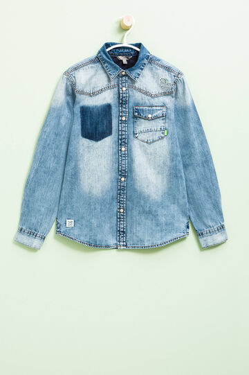 Denim shirt with patches and embroidery, Denim Blue, hi-res
