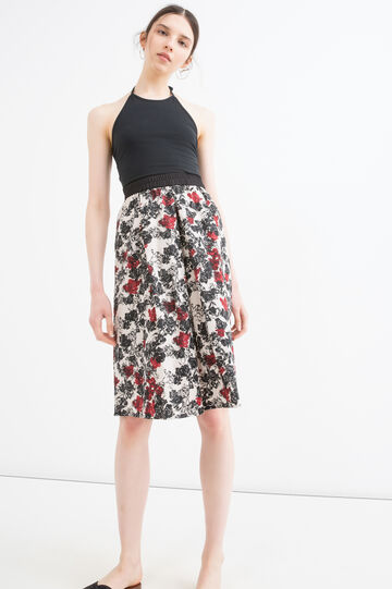 High-waisted skirt with pattern, Black/White, hi-res