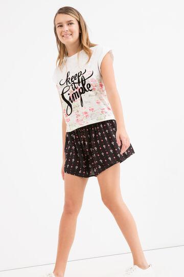 Teen printed culottes., Black, hi-res
