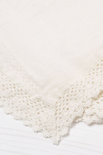 Solid colour scarf in 100% cotton., Cream White, hi-res