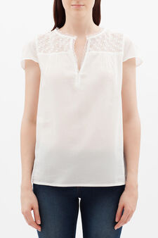 Blouse with openwork inserts, White, hi-res