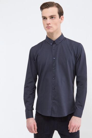 Camicia tinta unita misto cotone, Blu, hi-res