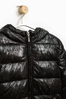 Stretch down jacket with lace insert, Black, hi-res