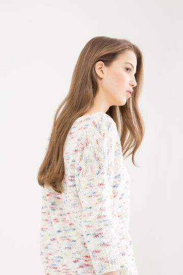Patterned pullover in 100% cotton, Multicolour, hi-res