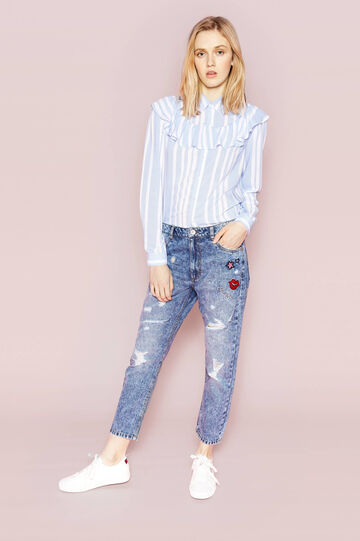 Mis-dyed boyfriend jeans with patches