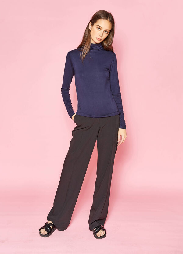 T-shirt in stretch viscose with high neck | OVS